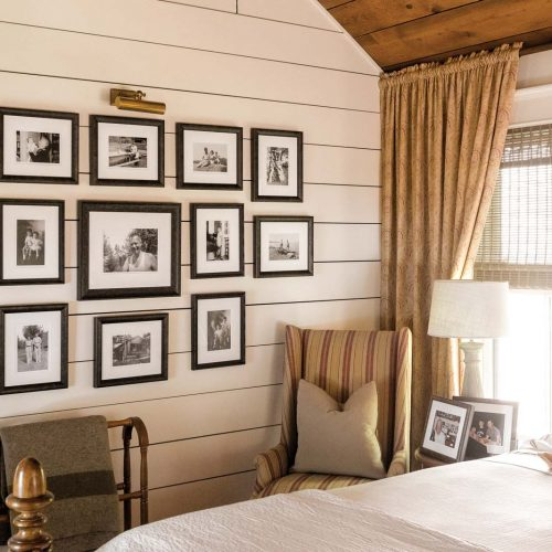 Over 400 photographs were painstakingly removed from the old frames, scanned, digitally enhanced, enlarged and reframed; and are now hanging throughout the house.