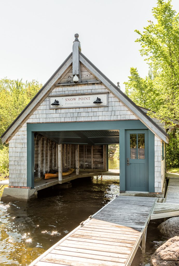 A big part of this lake house renovation, the beautiful boathouse was tilting and falling down. We had to find a way to preserve it while maintaining the original character.