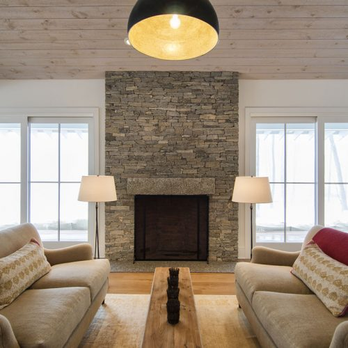 Another view of the split face stone fireplace.