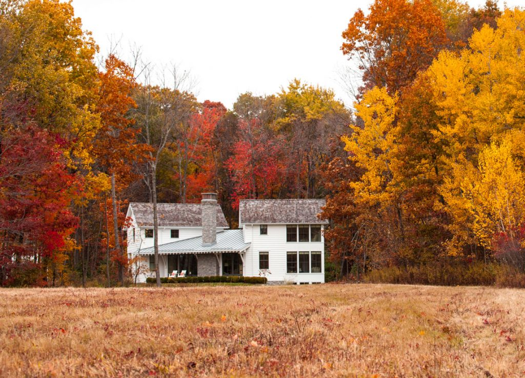 Three Sisters, the name of a retreat home designed by Cole Harris Architects, sits in rural Litchfield County. It was designed to mimic a 19th-century, colonial farmhouse.