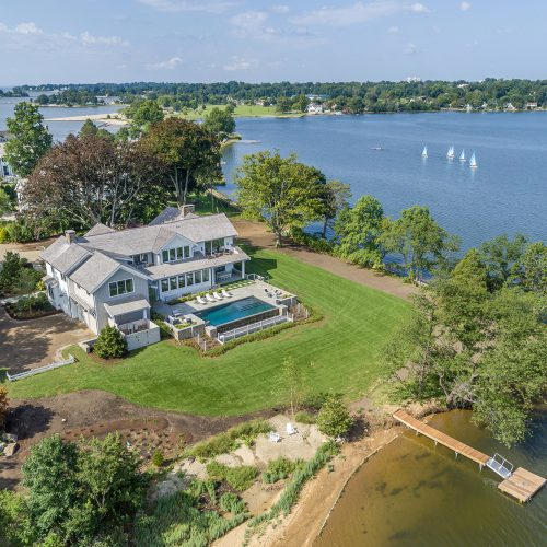 The property hugs a small inlet of The Long Island Sound with astounding water views to the east, west and north.