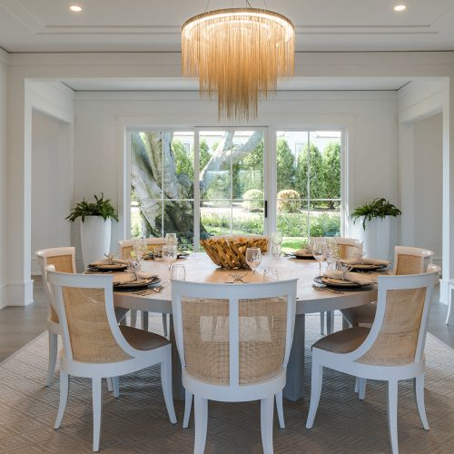 The dining room has the best view of the European Beech Tree. As the sun goes down, the landscape lighting will slowly illuminates the perennial garden flowers surrounding the tree.